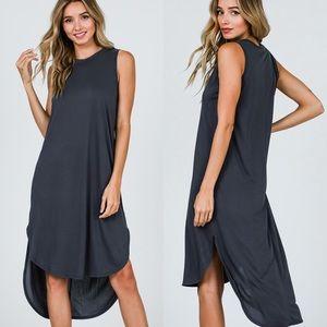 🌟Last 2! Soft Charcoal High Low Tank Dress!